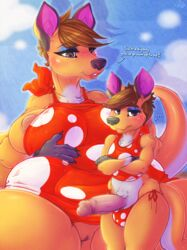 ... 2018 absurd_res age_difference animal_crossing anthro brown_hair carrie_(animal_crossing) clothed clothing crossed_arms dialogue digital_media_(artwork) dimwitdog duo embarrassed english_text eyelashes eyeshadow female hair hi_res humanoid_penis kangaroo makeup male mammal marsupial mother mother_and_son nintendo parent penis pussy short_hair son text video_games young younger_male