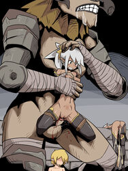 1boy 3girls abs after_sex against_wall armor arms_behind_back bandage belly big_mouth big_penis big_testicles blonde_hair blood blush breast_grab breasts censor_bar censored clenched_teeth clitoris cum cum_in_pussy cum_inside cum_on_clothes cumdrip dark_skin drooling earring elf gloves grey_hair groping hand_on_another's_head holding horns huge_penis huge_testicles imuneko interspecies large_penis large_testicles long_hair mass_rape monster multiple_girls muscular muscular_male navel nipples nude original penis pointless_censoring pointy_ears ponytail pussy rape restrained reverse_suspended_congress rope saliva sex short_hair size_difference spread_legs standing stomach_bulge straight tears teeth thick_penis thick_thighs thighhighs third-party_edit torso_grab unconscious vaginal_penetration virgin white_hair