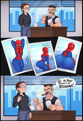 aggressive as ass bodysuit bulge close-up english_text femboy gay girly male male_only muscle_tone peter_parker pose presenting shadman skin_tight spider-man spider-man_(series) thighs tight_clothing trap wide_hips