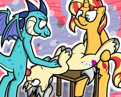 2018 5:4 animal_genitalia anthro claws cutie_mark digital_media_(artwork) dragon equestria_girls equine erection fan_character female feral friendship_is_magic fur hair horn horse mammal multicolored_hair my_little_pony nude oral oral_penetration penetration penis pokefound pony pussy scales scalie sex smile sunset_shimmer_(eg) two_tone_hair unicorn