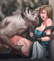 1boy bare_shoulders black_gloves black_hair bound breasts brown_hair cleavage clothed_female_nude_male comb_over commentary_request female fingerless_gloves gloves hentaix imminent_rape jill_valentine large_breasts leg_grab nude resident_evil rope tongue tongue_out ugly_man