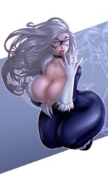 black_cat breasts cleavage felicia_hardy female female_only huge_breasts looking_at_viewer marvel open_mouth raidouzero solo spider-man_(series) tongue tongue_out