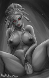 1boy aestheticc-meme breasts cowgirl cowgirl_position female grey_skin large_breasts licking mature milf monochrome nude red_eyes rwby salem_(rwby) sex spreading_pussy straight tongue tongue_out