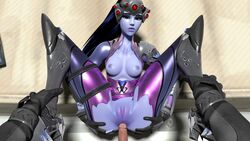 3d anal anal_penetration anal_sex animated anus ass blackwatch_reyes blender blizzard_entertainment blue_skin breasts darkholestuff duo erection female giver_pov headgear looking_at_viewer loop male male_pov nipples no_sound overwatch pov pussy reaper straight tagme torn_clothes webm widowmaker