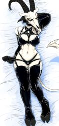 anthro baphomet big_breasts bird's-eye_view bra breasts caprine cleavage clothed clothing cloven_hooves dakimakura_design demon female female front_view fur garter_straps goat high-angle_view highres hladilnik hooves horn leather legwear long_mouth looking_at_viewer lucy_(hladilnik) lying mammal midriff navel on_back panties pentagram scar simple_background smile solo spade_tail stockings thigh_highs underwear white_fur yellow_eyes