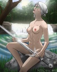 abs bath bathing book breasts cd_project_red ciri cirilla_fiona_elen_riannon green_eyes hair hair_bun neroxliv nipples nude outside patreon pond scar short_hair sitting_on_rock small_breasts sword the_witcher the_witcher_(series) the_witcher_3 the_witcher_3:_wild_hunt video_games waterfall white_hair