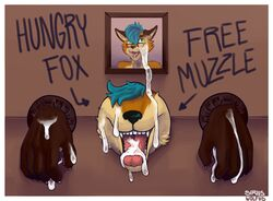 anonymous blush bondage bound canine cum cum_in_mouth cum_inside cum_on_face exhibitionism fox glory_hole male mammal open_mouth oral public public_use solo tongue tongue_out writing_(disambiguation) yaoi