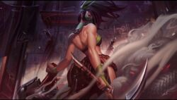 akali bare_back bare_shoulders league_of_legends tagme thighs