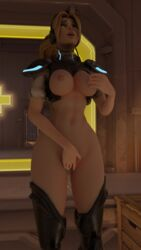 3d areolae blender blizzard_entertainment blonde_hair bluebayzs breasts closed_eyes female female_only masturbation nipples nova_widowmaker nude open_mouth overwatch ponytail pussy solo temple_of_anubis_(map) widowmaker