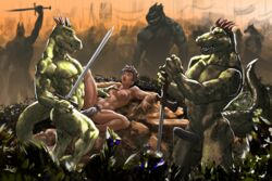 abs anthro athletic battle biceps blush breasts celebration cum erection female female_on_anthro grass greatsword group handed horn human human_on_anthro interspecies lizard male mammal marsonaut melee_weapon muscular muscular_male outside pecs penis precum reptile scalie sex sweat sword vein warrior weapon