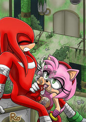 amy_rose anthro areolae balls black_nose breasts closed_eyes clothing cum cum_on_body cum_on_breasts cum_on_face cum_on_hair cum_on_penis cum_on_tongue cum_on_upper_body cumshot echidna facial female gloves grabbing green_eyes hair hair_ornament hairband hedgehog interspecies knuckles_the_echidna licking male mammal monotreme nipples open_mouth partially_clothed penis penis_grab pink_fur pink_hair raianonzika red_balls red_fur red_hair red_penis ruins sega sonic_(series) sonic_boom straight tail thick_penis thighhighs thighs tongue tongue_out vein veiny_penis watermark white_gloves zerbukii