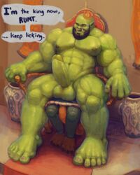 2018 3_toes 5_fingers 5_toes abs anal anthro areola bald balls beard biceps big_feet chair claws clenched_teeth clothing crown dialogue domination dragon duo english_text eyebrows facesitting facial_hair facial_piercing fangs front_view green_balls green_nipples green_skin hi_res humanoid humanoid_hands king larger_male looking_down male male_domination muscular muscular_male navel nipples nommz nose_piercing nude obliques on_top oral orc pecs piercing rimming royalty sex sitting size_difference smaller_male spread_legs spreading teeth text thick_thighs throne toe_claws toes triceps vase yaoi yellow_eyes