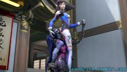 anilingus ass bondage collar d.va female_only femdom leash looking_at_viewer overwatch scoobz smothering widowmaker yuri