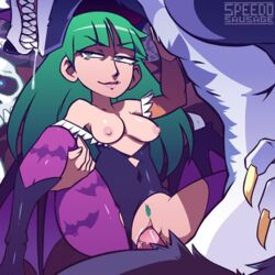 1girl animated areolae boot bouncing_breasts breasts canine_penis darkstalkers erection female green_eyes green_hair human_on_anthro jon_talbain legs_held_open long_hair male morrigan_aensland nipples penetration penis pubic_hair pubic_tuft pussy sex speedosausage spread_legs straight torn_bodysuit torn_clothes torn_clothing torn_pantyhose vaginal_penetration werewolf zoophilia