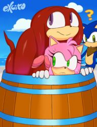 ? amy_rose anthro artist_name barrel big_penis black_nose blue_fur blush echidna excito female gloves green_eyes hedgehog huge_cock knuckles_the_echidna looking_at_penis male mammal monotreme multiple_boys multiple_males penis pink_fur pink_hair purple_eyes red_fur red_hair red_penis sega sonic_(series) sonic_boom sonic_the_hedgehog sweat sweatdrop text watermark