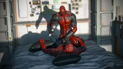 absurdres anal bed cock costume costumes deadpool forced frottage fucked gay gloves hires looking_at_viewer marvel missionary orgasm ralic_turman rape spider-man spider-man_(series) suit superhero vibrating vibrator vibrator_on_penis yaoi