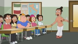 animated big_breasts brown_skin chris_griffin dancing family_guy female huge_breasts italian_flag italy meg_griffin poivoit public teacher topless
