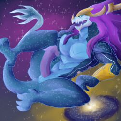 animal_genitalia animal_penis anthro aurelion_sol_(lol) blue_scales daikuhiroshiama dragon galaxy hair horn league_of_legends male male_only muscular open_mouth penis presenting purple_hair reptile riot_games scales scalie solo space spread_legs spreading video_games