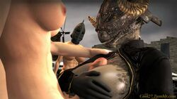 2futas abs animated areolae argonian big_breasts big_penis breast_squeeze breasts coot27 dickgirl dickgirl/female female foreskin futa futa_on_female futanari huge_breasts human large_breasts nipples no_sound penis skyrim the_elder_scrolls titjob uncut webm