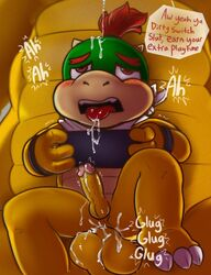 blush bowser bowser_jr bowser_jr. cum cum_in_mouth cum_inside cum_on_face drooling father_and_son gaming gay koopa looking_pleasured male_only nintendo nintendo_switch open_mouth parent penetration red_eyes red_hair speech_bubble super_mario_bros. tongue_out