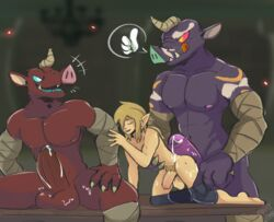 ass balls blin_(zelda) breath_of_the_wild clothed clothing cum gangbang group group_sex invalid_background link male male/male meatshaq moblin muscular nintendo partially_clothed penis sex table the_legend_of_zelda tongue tongue_out video_games