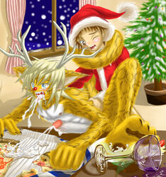 2007 blue_eyes brown_eyes christmas cum feline holidays human male male/male mammal nipples open_mouth penis sheeque solo