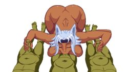 1girl 3boys :>= all_fours alpha_channel animal_ears animated ass blue_hair breasts corrupted_dungeon dark-skinned_female dark_skin feet fellatio foursome green_skin hairband interspecies large_ass large_breasts lewd_maze male_pov nude oral penis pink_eyes pov shanbahak straight thick_thighs veins veiny_penis wide_hips