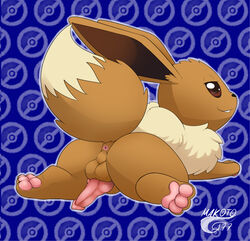 1boy 3_toes :3 all_fours anus ass big_ass big_ears blue_background brown_eyes brown_fur canine_penis eevee eyelashes feet feral furry half-closed_eyes knot long_ears looking_at_viewer looking_back makoto177 male male_only nintendo nude pawpads paws penis pokémon_(species) pokemon pokemon_rgby raised_tail smile spread_legs tail teeth text thick_thighs video_games watermark white_fur