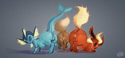 2018 anus ass eevee eeveelution female feral flareon group looking_at_viewer looking_back mammal nintendo paws ph0que plump_labia pokémon_(species) pokemon presenting presenting_hindquarters pussy raised_tail rear_view simple_background vaporeon video_games
