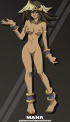 1girl bracelet breasts brown_background brown_hair cartoon completely_nude feet female female_only high_resolution long_hair mana_(yu-gi-oh!) nipples nude oryononilocram pussy simple_background solo text thin_waist toes url vagina very_high_resolution watermark yu-gi-oh!