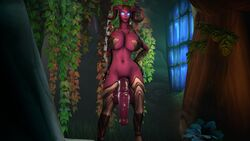 3d absurdres animal_genitalia balls big_breasts breasts cleavage dickgirl draenei futa_only futanari highres horsecock huge_cock large_breasts penis solo source_filmmaker sweetgrapes0101 testicles world_of_warcraft