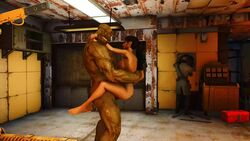 1girl 2boys 3d carry_position carrying fallout fallout_4 female green_skin interspecies male monster sex size_difference sole_survivor straight strong_(fallout) super_mutant webm