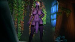 3d absurdres areolae balls big_breasts breasts dickgirl draenei futa_only futanari highres huge_cock large_breasts nipples penis solo source_filmmaker sweetgrapes0101 testicles world_of_warcraft