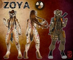 abs animal_genitalia anthro areola female gas_mask gun hyena mammal mask model_sheet pseudo-penis pussy ranged_weapon rifle s.t.a.l.k.e.r. scar sorabito video_games weapon zoya_(cloakedthief)