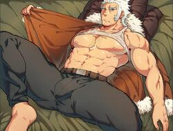 1boy abs bara body_hair bulge chest gay muscles nipples pants undressing white_hair yaoi