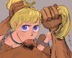 1boy blonde_hair blue_eyes chains female hairpull nsfw restrained