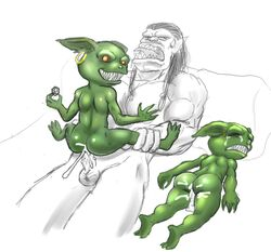 2014 after_sex ambiguous_gender anal balls cum cum_in_ass cum_inside goblin humanoid kyoshinhei male male/ambiguous orange_eyes orc penis traditional_media_(artwork)