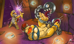 2018 3_toes ankle_cuffs anthro ball_gag bondage bondage boo_(mario) boom_boom bound bowser chain_chomp claws detailed_background digital_drawing_(artwork) digital_media_(artwork) featureless_crotch foot_fetish gag gagged ghost group hair hi_res horn impximon koopa lock magic magic_wand male mario_bros muscular muscular_male nintendo nude one_eye_closed red_eyes red_hair scalie shackles sharp_teeth shell smile spikes spirit sweat teeth thwomp tickle_torture tickling toe_claws toes tongue tongue_out video_games