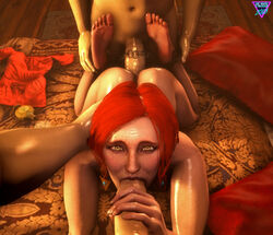 2boys 3d absurdres big_penis erection fellatio female female handjob highres khornflakesfm looking_at_viewer male nude oral penis red_hair sex source_filmmaker straight the_witcher triss_merigold