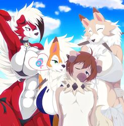 1boy 3girls abs anthro armpits big_breasts bikini black_hair black_nose blue_eyes blush breasts brown_fur brown_hair busty canine cleavage closed_eyes clothed clothing cloud digital_drawing_(artwork) digital_media_(artwork) dusk_lycanroc eyelashes female floppy_ears fur furry green_eyes grin group hair heart highres hips huge_breasts long_ears lycanroc male mammal micro_bikini midday_lycanroc midnight_lycanroc multicolored_fur multicolored_hair neck_tuft nintendo no_nipples one_eye_closed orange_fur outside pink_eyes pink_nose pokémon_(species) pokemon pokemon_sm pokemon_usm q_wed red_eyes red_fur rockruff sky smile speech_bubble swimsuit teasing thick_thighs thighs tuft white_fur white_hair wide_hips ♀ ♂