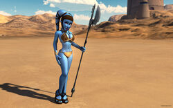 1girl aayla_secura alien alien_girl armband artist_name bald bare_shoulders big_breasts black_eyes blue_skin bracer busty choker cleavage clone_wars curvy day detailed_background eyelashes female female_only front_view headgear high_heels holding_object hourglass_figure humanoid jedi kondaspeter looking_at_viewer looking_up mammal metal_bikini midriff outdoor outside pose posing purple_lips sandals shadow shoes slave_bikini solo solo_female spread_legs spreading standing star_wars twi'lek vibro_axe voluptuous weapon wide_hips