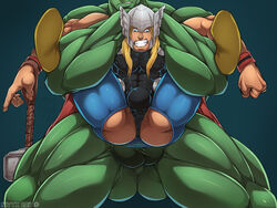 2boys avengers bara big_balls big_penis blonde_hair bulge clothes full_nelson gay hires hulk male male_focus male_only marvel muscular nivyx pecs reverse_suspended_congress size_difference thighs thor underwear yaoi