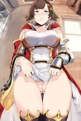 1girl blue_eyes breasts brown_hair dress female_only granblue_fantasy hews leona_(granblue_fantasy) no_panties pubic_hair pussy thigh_gap uncensored wet wide_hips