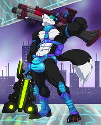 2018 4_toes 5_fingers abs anthro biceps black_fur black_hair black_nose black_skin bulge canine clothing eyewear fur future glasses gloves hair hand_behind_head harness holding_object holding_weapon hungothenomster low-angle_view male mammal multicolored_fur multicolored_skin muscular muscular_male muscular_thighs nipples penis_outline plantigrade pose seiji_(hungothenomster) solo standing starbound tight_underwear toes two_tone_fur two_tone_skin underwear video_games weapon white_fur white_skin wolf