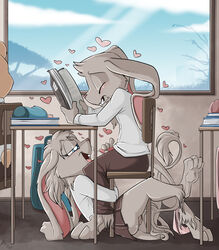 blue_eyes blush book classroom closed_eyes clothed clothing duo_focus feline female for fuf fur grey_fur grey_hair group hair heart hybrid lagomorph lion male male/female mammal orgasm panties penis public pussy pussy_juice rabbit school sex skirt stealth_sex student under_the_table underwear