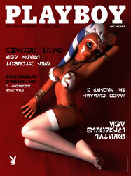 1girl 3d ahsoka_tano alien alien_girl armband artist_name bare_shoulders big_breasts blue_eyes bracer busty choker clone_wars curvy detailed_background english_text eyelashes female female_only footwear front_view hourglass_figure humanoid jedi kondaspeter legwear looking_at_viewer lying magazine_cover mammal marking metal_bikini midriff orange_skin playboy pose posing slave_bikini solo solo_female standing star_wars stockings text togruta voluptuous white_footwear white_legwear white_stockings wide_hips