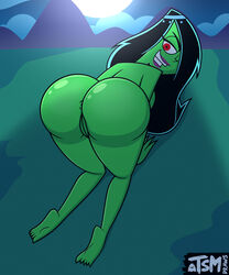 1girl 2018 all_fours anus ass bare_shoulders barefoot big_ass big_butt black_hair butt color colored danny_phantom dat_ass desiree eyebrows eyelashes feet female female_only genie green_skin hair hair_over_one_eye huge_ass huge_butt humanoid large_ass large_butt long_hair looking_back naked nickelodeon nude purple_lipstick pussy red_eyes smile smiling solo supervillain teeth topless tsmdraws uncensored vagina