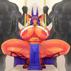 animal_ears arms_behind_head breasts dark_skin fate/grand_order fate_(series) gigantic_breasts huge_areolae huge_cock legs loincloth muscle nipples nitocris_(fate/grand_order) penis plump spread_legs squat squatting thick_thighs thighs tokyokyoto