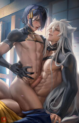 :d animal_ears animal_tail blue_hair bottomless cute holding kogitsunemaru long_hair male male/male males_only mikazuki_munechika naughty_face nude partially_clothed red_eyes riding sakimichan smirk touken_ranbu white_hair yaoi