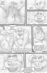 2016 anthro ape balls beard belly clothing comic covering covering_crotch duo ear_piercing english_text erection eyebrows facial_hair goatee gorilla greyscale humanoid_penis male mammal markwulfgar monochrome muscular muscular_male navel nipples overweight overweight_male penis piercing pig porcine precum primate speech_bubble tenting text thick_eyebrows underwear